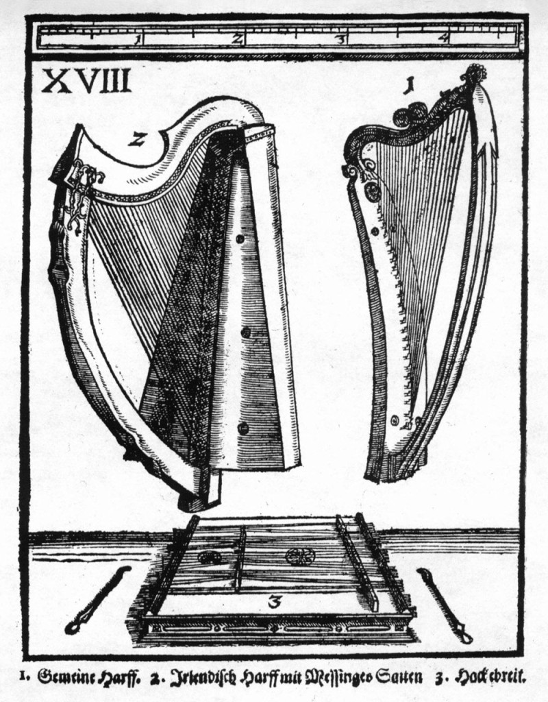 "Illustration of a 17th century German dulcimer and beaters. </br>From Michael Praetorius' ""Syntagma Musicum de Organographia""."